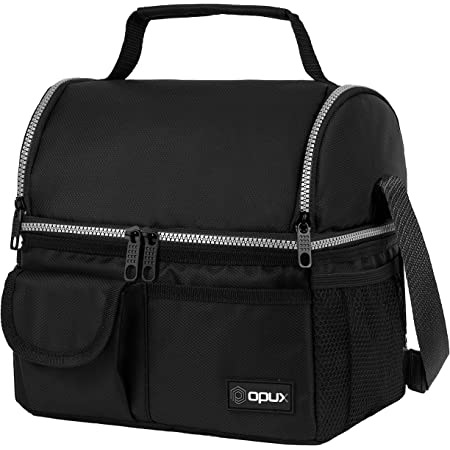 OPUX Insulated Dual Compartment Lunch Bag for Men, Women | Double Deck Reusable Lunch Pail Cooler Bag with Shoulder Strap, Soft Leakproof Liner | Large Lunch Box Tote for Work, School (Black)