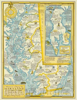 Historical Map of the Maryland Eastern Shore, the Chesapeake Bay Country, 1957 - Vintage Wall Art - 18in x 24in
