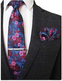 Floral Necktie and Pocket Square Tie Clip Sets for Men