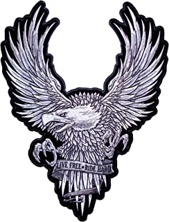 Leather Supreme Live Free Ride Hard Silver American Bald Eagle Biker Patch-Silver-Large