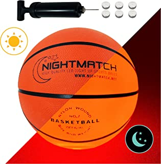 NIGHTMATCH Light Up LED Basketball - Official Size 7 - Extra Pump and Batteries - Perfect Glow in The Dark Basketball with Spare Batteries - Waterproof Glow Basketball with Two High Bright LEDs