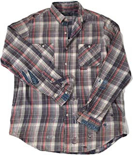 Polo Men's Plaid Japan Tiger Embroidered Patched Stitched L/S Flannel Shirt