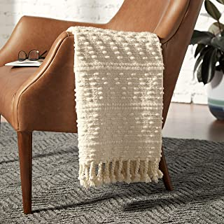 Rivet Contemporary Raised-Texture Throw Blanket - 60 x 50 Inch, Ivory