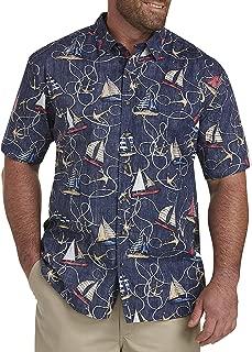 Oak Hill by DXL Big and Tall Boat Print Sport Shirt, Peacoat