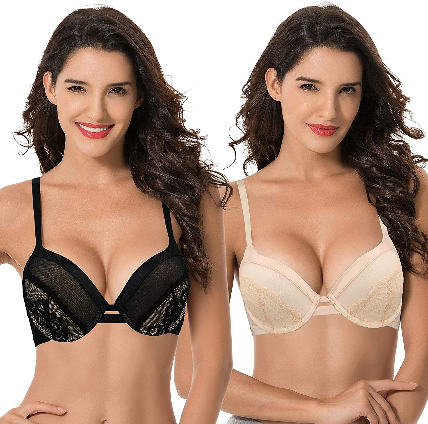 Curve Muse Women's Plus Size Push Up Add 1 Cup Underwire Perfect Shape Lace Bra