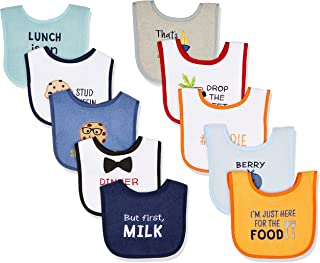 Hudson Baby Unisex Baby Cotton Terry Drooler Bibs With Fiber Filling
