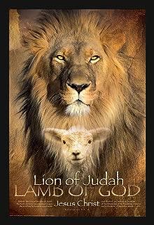 24x36 Lion Of Judah, Black Art Print Poster Framed with 1.5