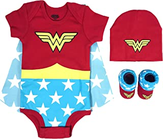 Baby Girl's Superman, Wonder Woman, Flash, Batman 3-pc Set in Gift Box Baby Costume
