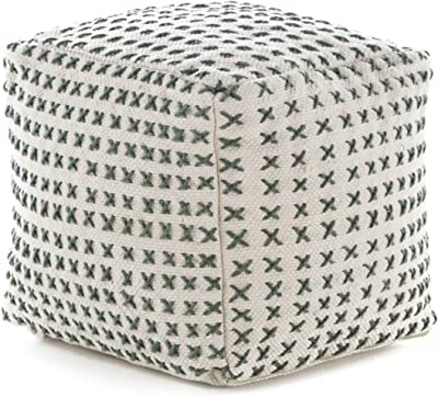 Christopher Knight Home Flanner Fabric Square Pouf Ottoman, Cream, Green