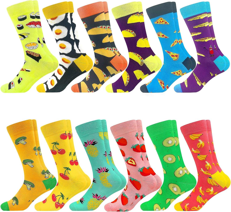Men's Fuzzy Colorful Novelty Fun Socks Crew Cute Crazy Happy Cotton Sock Packs