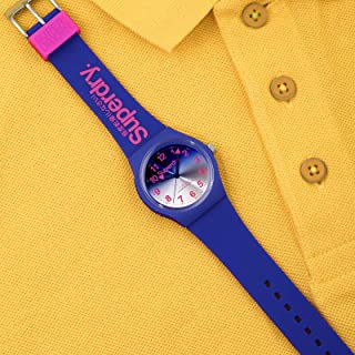 ساعة سوبر دراي انالوج اوربان مع مينا ساعة بلون ازرق بسوار مطاط ازرق للرجال - SYG198UU