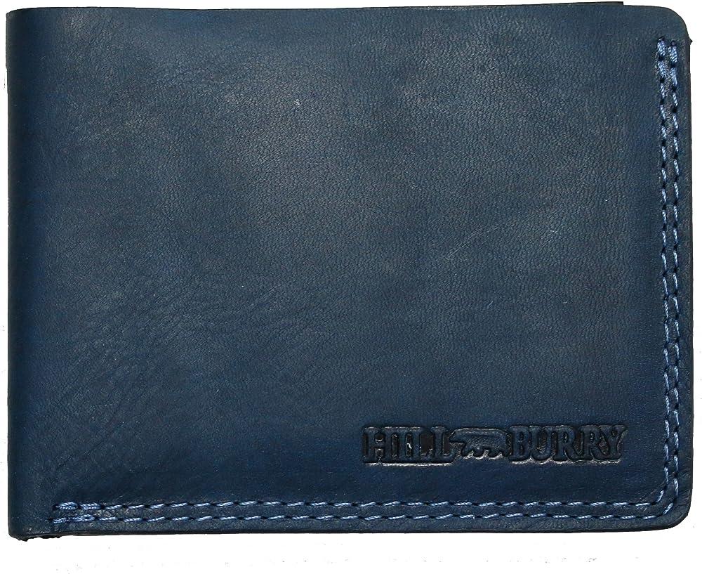 Hill burry - porta carte di credito, portafoglio da uomo in vera pelle, sottile, blu