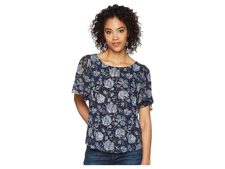 Lucky Brand Back Cutout Cotton Blend Top (Navy Multi) Women's Short Sleeve Pullover, Blue
