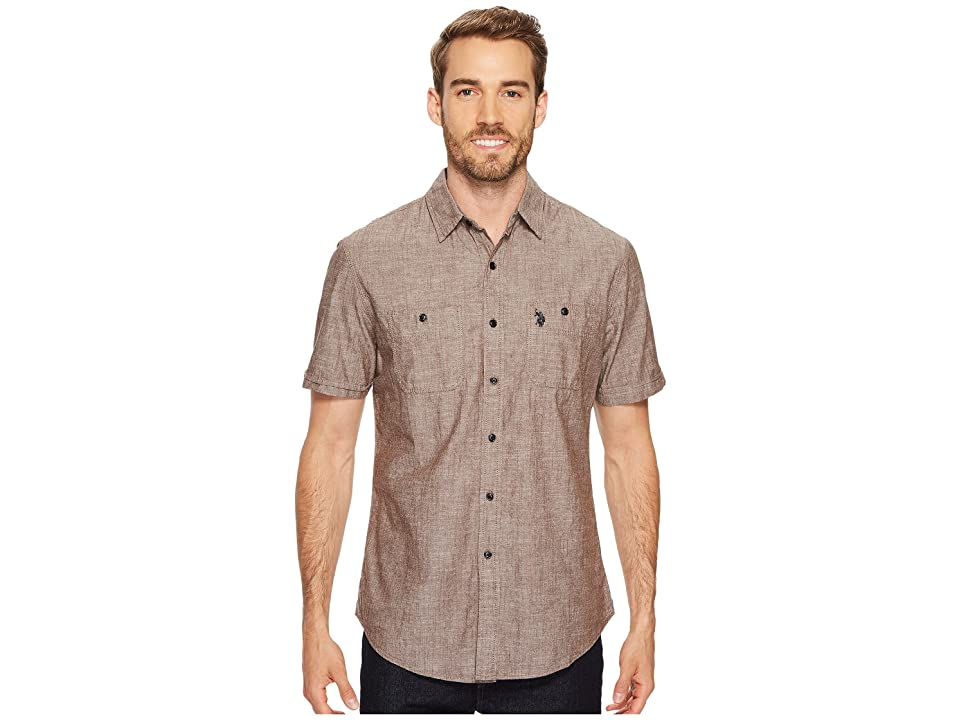 U.S. POLO ASSN. Slim Fit Short Sleeve Sport Shirt (Dark Stallion) Men
