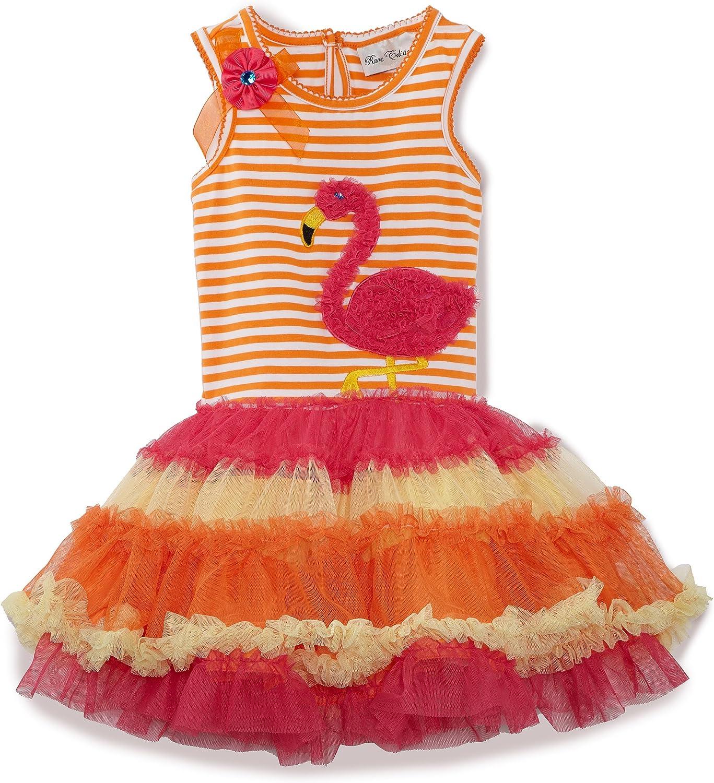 Rare Editions Little Girls' Flower And Applique Details Tutu Dress