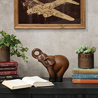 """Urban Trends Ceramic Trumpeting Standing Elephant Figurine, 11.5 by 5 by 10.5"""", Brown"""