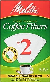 Melitta Cone Coffee Filters, White, No. 2, 100 count