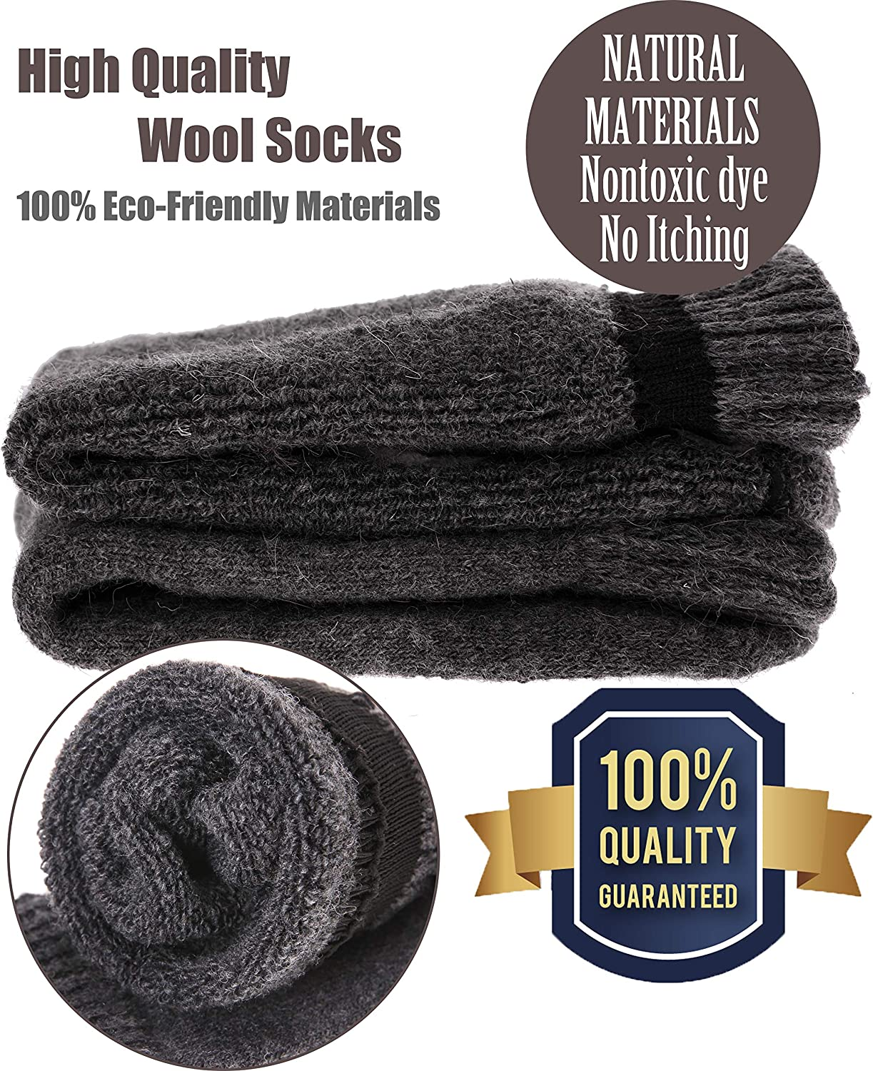 Mens Wool Socks Thermal Heavy Warm Thick Fuzzy Winter Crew Socks For Cold Weather 5 Pairs