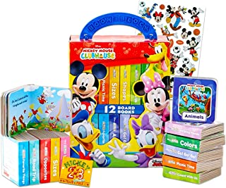 Disney Junior Mickey Mouse Clubhouse Board Books Set Toddlers Babies Bundle ~ Pack of 12 Chunky My First Library Board Book Block with Stickers (Mickey Mouse Books for Infants)