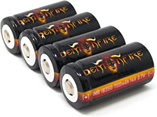4 Piece IMR 18350 700mAh 14A 3.7V High Drain LiMn Demonfire Rechargeable Battery with Button Top