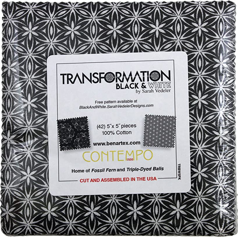 Sarah Vedeler Designs Transformation Black & White 5X5 Pack 42 5-inch Squares Charm Pack Benartex