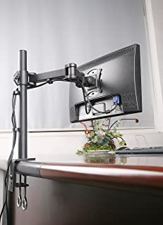 Rife Single Fully Adjustable/Tilt/Articulating LCD Monitor Desk Mount Stand with 3 Year Plan for Screen up to 27-Inches
