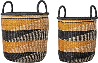 Bloomingville Handwoven Seagrass Stripes & Handles (Set of 2 Sizes) Baskets, Mustard