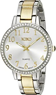 XOXO Womens Quartz Watch, Analog Display and Gold Plated Strap XO5847
