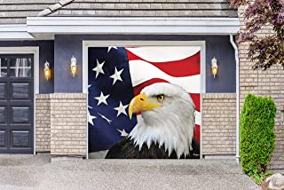 Victory Corps USA Flag and Eagle -Patriotic Garage Door Banner Mural Sign Décor 7'x 8' Car Garage - The Original Holiday Garage Door Banner Decor