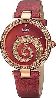 ساعة يد حركة كوارتز للنساء من بورجي بعرض تماثلي وعقارب وسوار جلدي احمر Bur143Bur