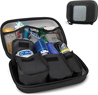 USA Gear Hard Shell Toiletry Travel Bag Organizer Kit with Customizable Storage Pockets - Perfect for Carrying Shampoo, Conditioner, Body Wash, Shaving Supplies and More Toiletries - Black