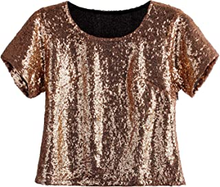 Women's Glitter Glam Sequin Top Loose Sleeves Sparkly Shimmer Party Bridesmaid Sequined Tunic Top