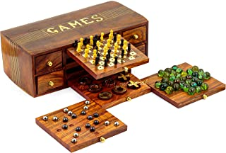 4 in 1 Multi Games Wooden Crafted Box | Tic Tac | Chess | Marbles | Domino | Steel Balls Platter | Nagina International