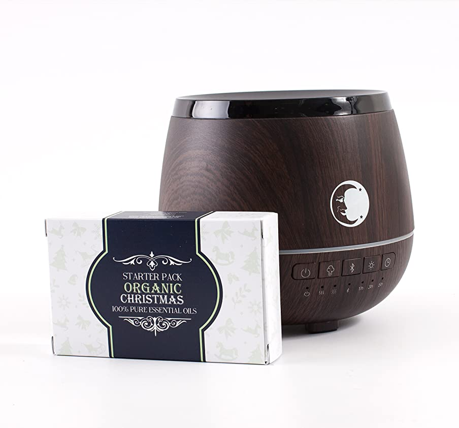 安定隣接遺跡Mystic Moments   Wood Effect Aromatherapy Oil Ultrasonic Diffuser With Bluetooth Speaker & LED Lights + Organic Christmas Essential Oil Gift Starter Pack