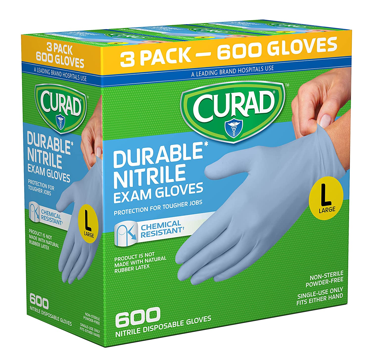 Curad - CURNT3RH San Diego Mall Disposable Indefinitely Nitrile Chemical Resist Exam Gloves