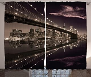 Ambesonne Landscape Curtains, Brooklyn Bridge Sunset NYC View Skyline Tourist Attraction Modern City, Living Room Bedroom Window Drapes 2 Panel Set, 108