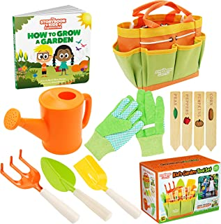 Kids Gardening Tools - Includes Sturdy Tote Bag, Watering Can, Gloves, Shovels, Rake, Stakes, and a Delightful Children's ...