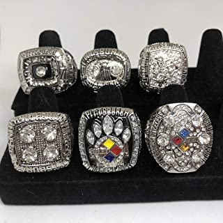 Set of 6 Pittsburgh Steelers Super Bowl IX, X, XII, XIV, XL, XLIII Replica Ring-Various Sizes Silver Color Collectible USA SHIPPER 1974, 1975, 1978, 1979, 2005, 2008