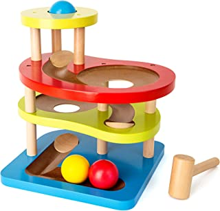 Small Foot 10629 Knocking Marble Run Made of Colourful Wood with Four Floors and Accelerating Ramps, Including Three Wooden Balls and a Robust Hammer