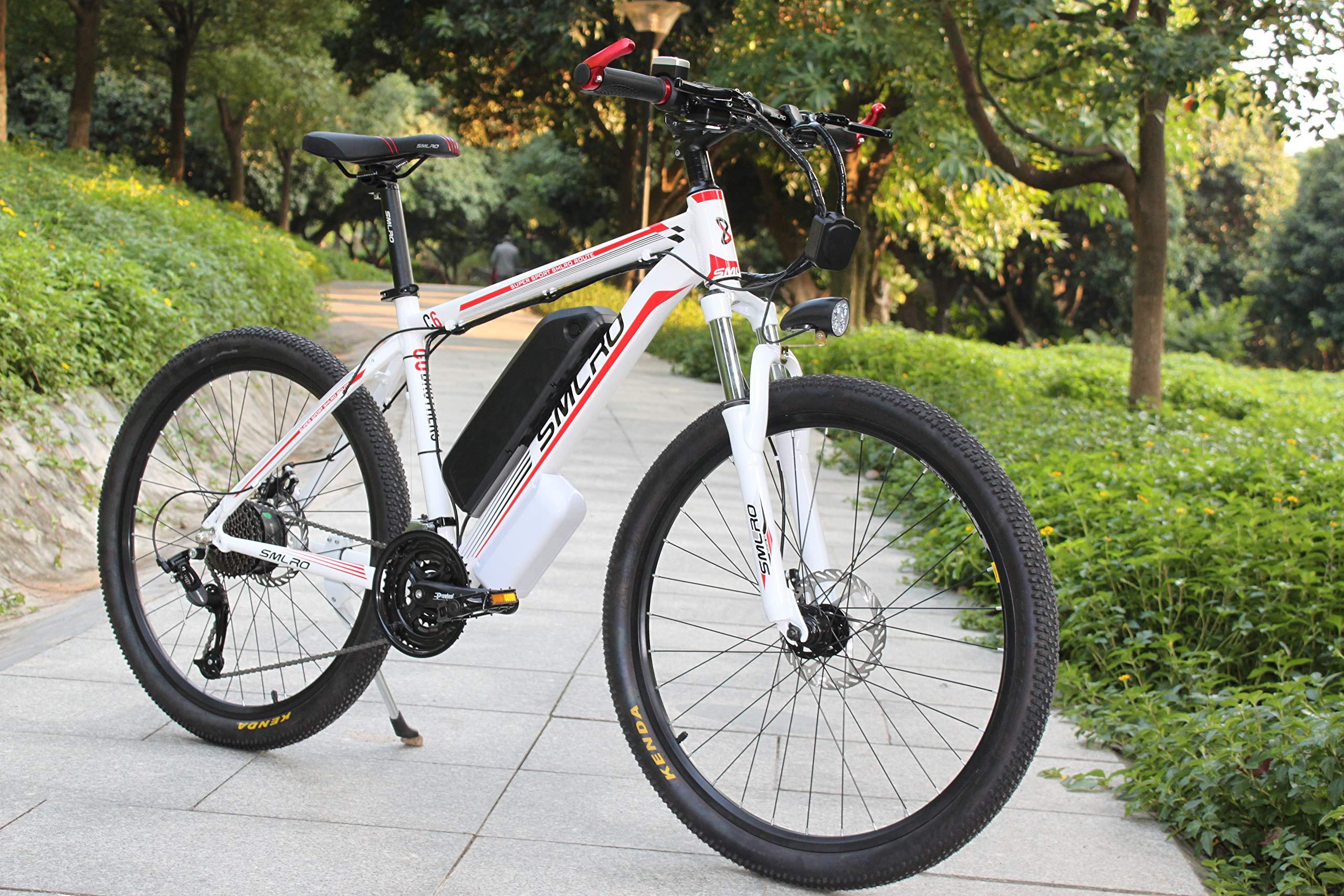 SMLRO Bicicleta de Montaña Eléctrica, Bicicleta Eléctrica 1000W 26 con Batería Extraíble de Iones de Litio de 48V 15 AH Shimano 27 Speed Gear (Blanco-Rojo): Amazon.es: Deportes y aire libre