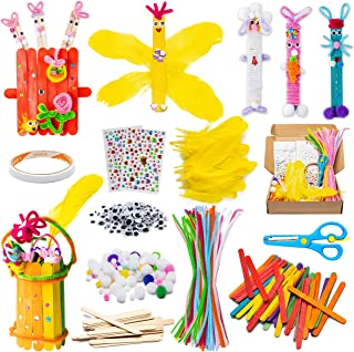 WATINC 280Pcs EasterWoodenDIYArtsCraftKit for Kids Make Your Own Bunny Chick Wood Crafts Wooden Stick Pompoms Pipe Cl...