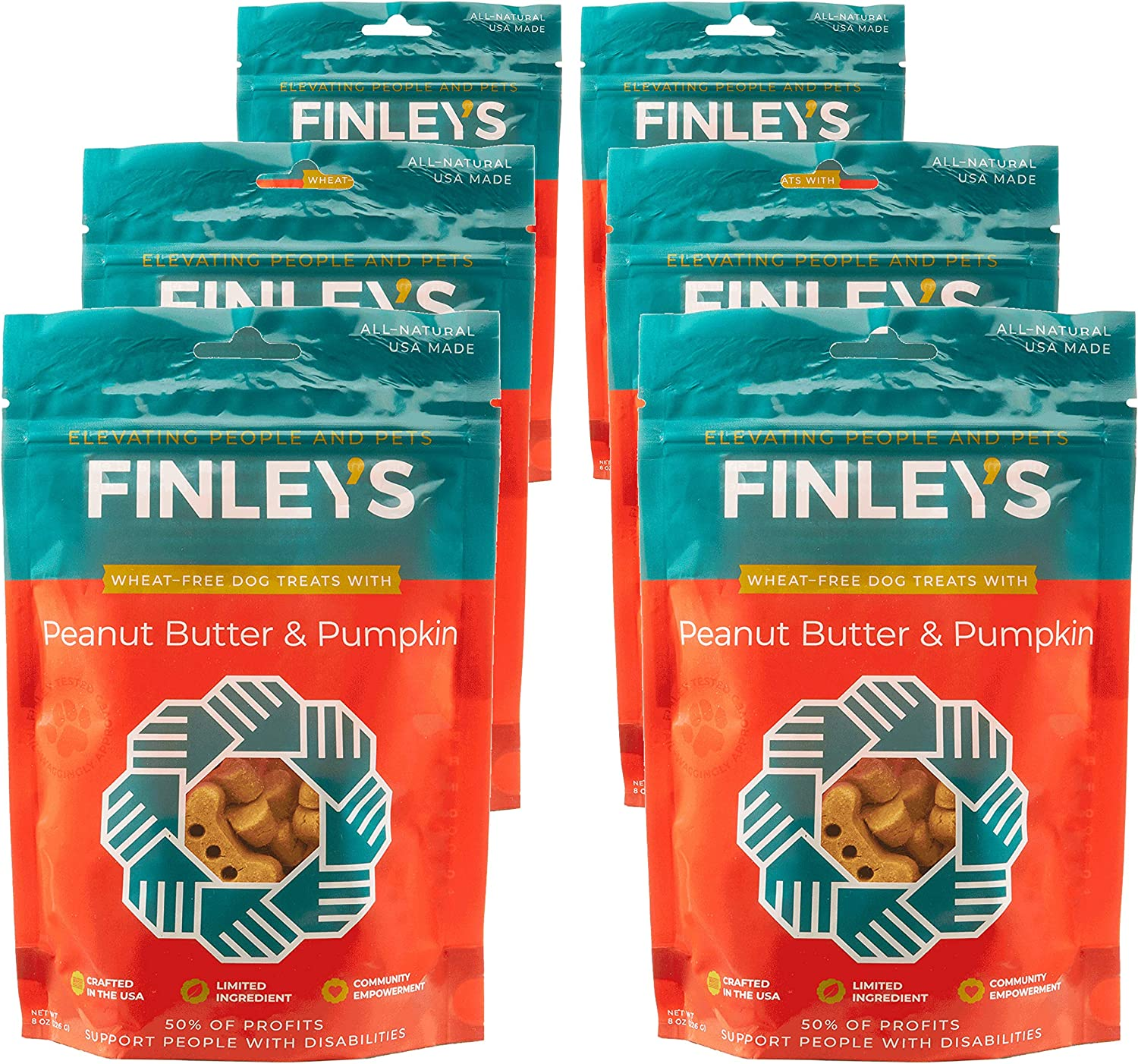 Finley's Barkery Peanut Butter & Pumpkin WheatFree Dog Treats  Natural Crunchy Limited Ingredient Dog Biscuits Free of Corn & Soy (6 Pack)