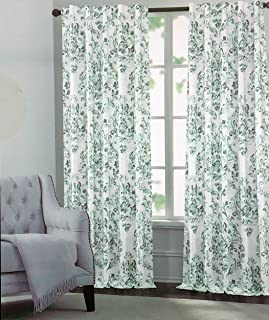 Tahari Window Panels Curtains Watercolor Damask Medallion Pattern in Shades of Green on White Back Tabs Set of 2 Panels Draperies - 52 Inches by 96 Inches