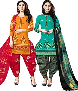 Rajnandini Women's Yellow And Turquoise Cotton Printed Unstitched Salwar Suit Material (Combo Of 2) (Free Size)