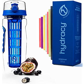 Hydracy Fruit Infuser Water Bottle - 32 oz Sports Bottle - Time Marker & Full Length Infusion Rod + 27 Fruit Infused Water Recipes eBook Gift - Your Healthy Hydration Made Easy