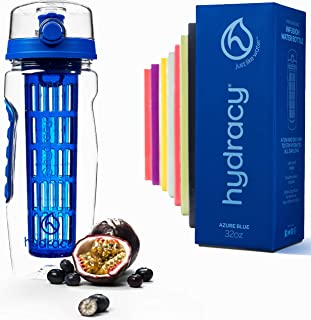 Hydracy Fruit Infuser Water Bottle - 32 oz Sports Bottle - Time Marker, Full Length Infusion Rod & Insulating Sleeve + 27 Fruit Infused Water Recipes eBook Gift - Your Healthy Hydration Made Easy