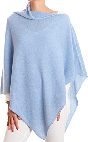 CASHMERE Poncho DENIM BLUE FREE UK Shipping, CAPE Wrap One Size Fits All