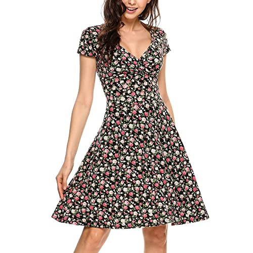 1a892a3c5a7 Grabsa Women s Casual Wrap V Neck Short Sleeve Solid A Line Casual Summer  Dress