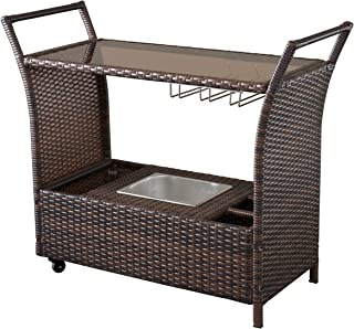 Benett Multi-Brown Wicker Serving Bar Cart