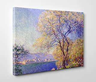 Niwo Art - Antibes Seen from The Salis Gardens, by Claude Monet - Oil Painting Reproductions - Giclee Canvas Prints Wall Art for Home Decor, Stretched and Framed Ready to Hang